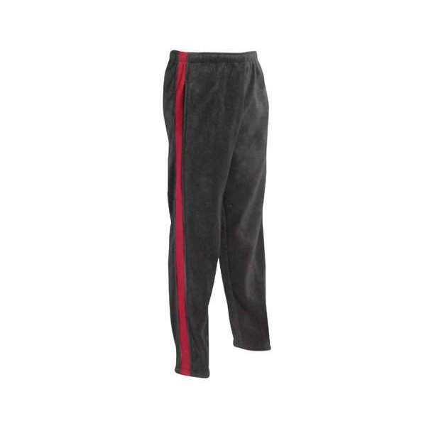 Two tone black fleece open leg pants with burgundy stripe from hip to cuff