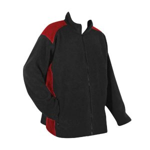 A red and yellow two-tone women's full zip fleece jacket with company logo on front