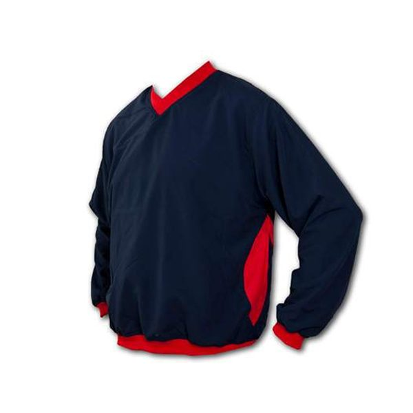 A V-neck pullover wind shirt with red inserts on arms and sides