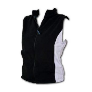 Black vest with inserts, full zipper, and white accents