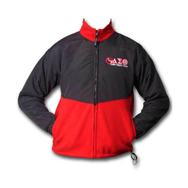 A two tone fleece jacket with black front and back, tan arms with full front zip and logo