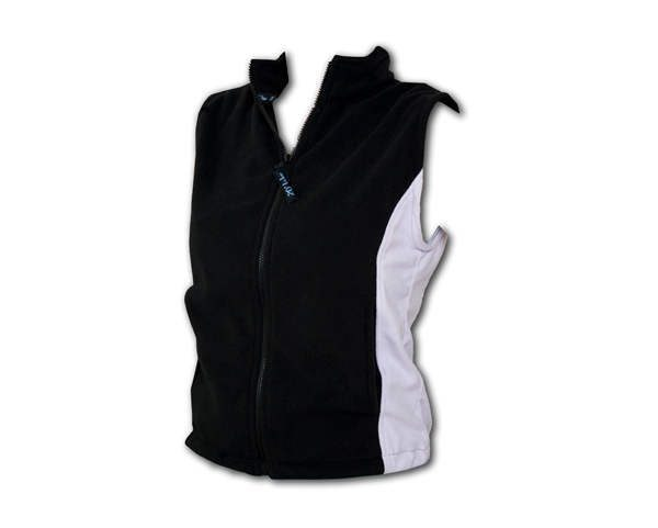 A black polar fleece vest with white side inserts and front zip