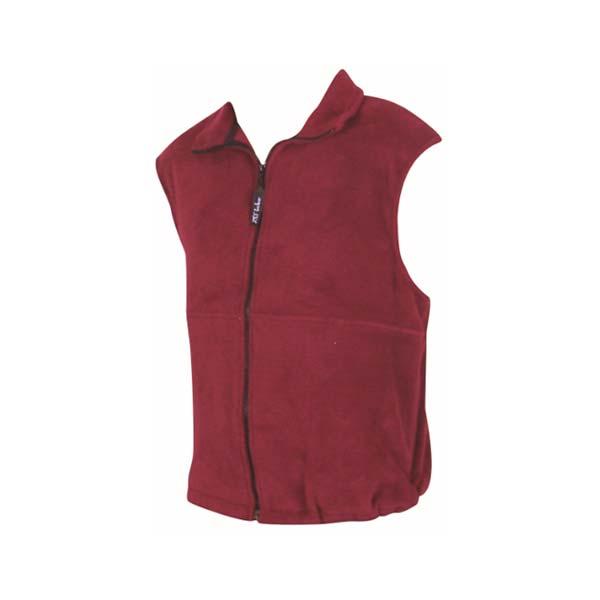 Youth polar fleece vest maroon color