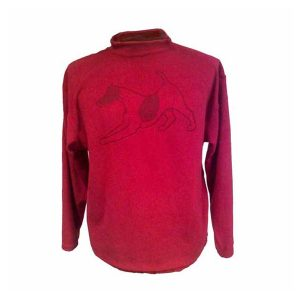 A dark pink long sleeve crewneck fleece with dog printed on front