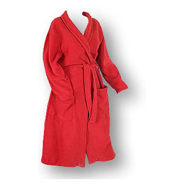 Bright pink plush fleece youth robe with front pockets