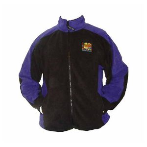 A black and cobalt blue two tone fleece jacket with full zip front and logo