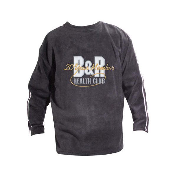Indigo blue long sleeve crewneck sweatshirt with company logo on front