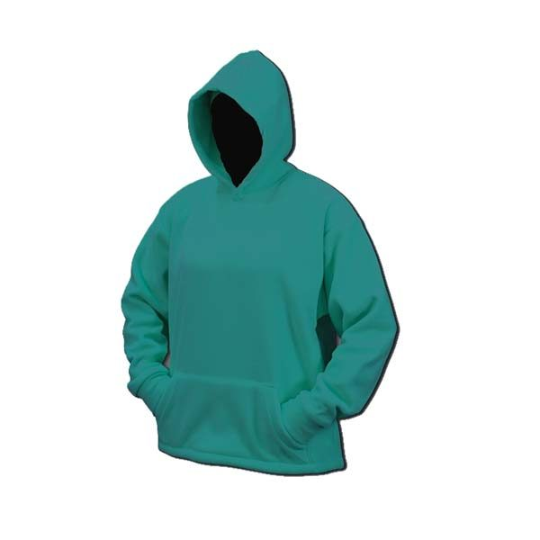 Bright teal blue hooded fleece sweatshirt with front pocket