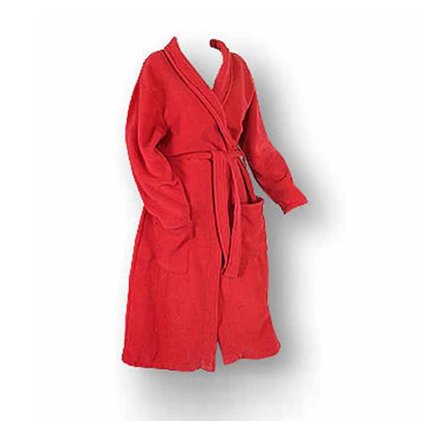 Fleece youth bathrobe red