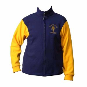 Blue and yellow full zip fleece jacket with logo