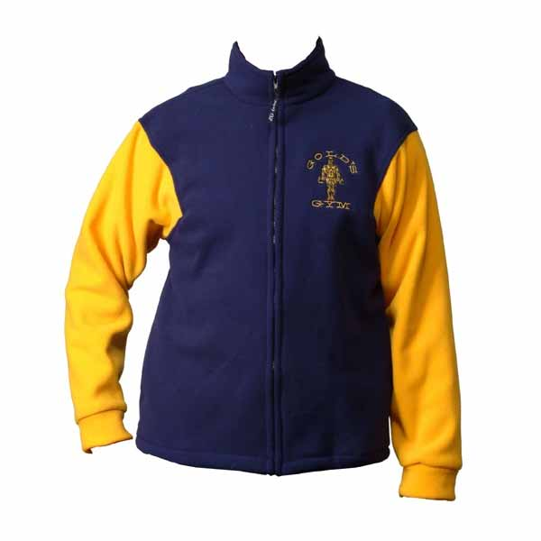 Blue and yellow full zip fleece jacket with logo
