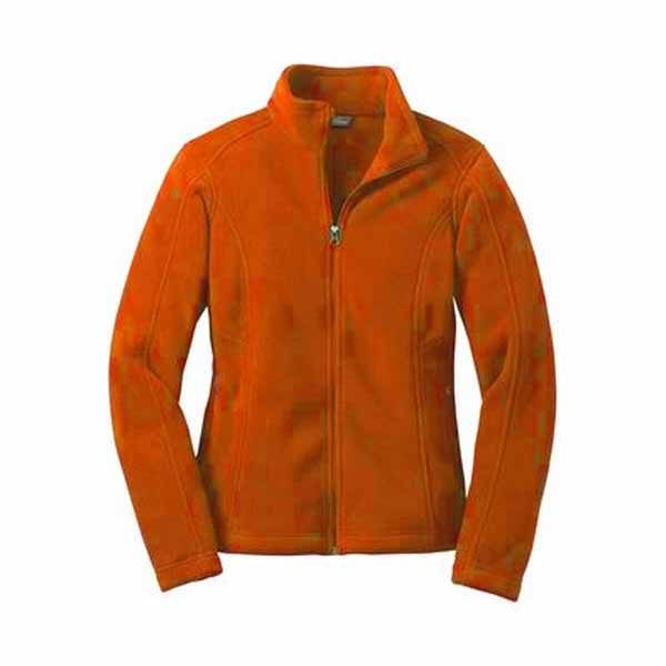 A Tangerine colored ladies full zip fleece jacket