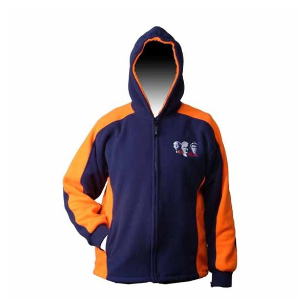 dark blue front zippered fleece jacket with orange inserts on side and arms
