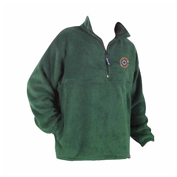 A dark green green long sleeve fleece pullover with ¼ front zip
