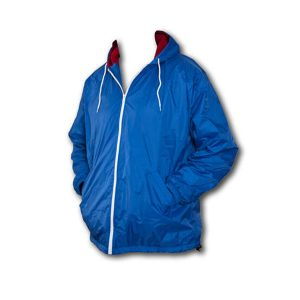 Blue hooded nylon jacket with white zipper down the front