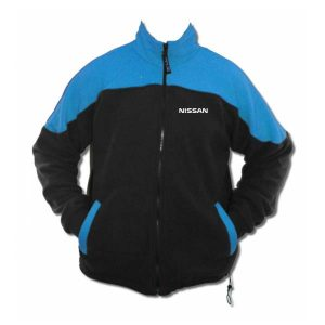 A blue and black fleece jacket with Nissan logo over left chest and zippered front