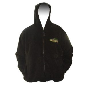 black hooded full zip fleece jacket with company logo