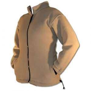 Beige ladies fitted full front polar fleece jacket