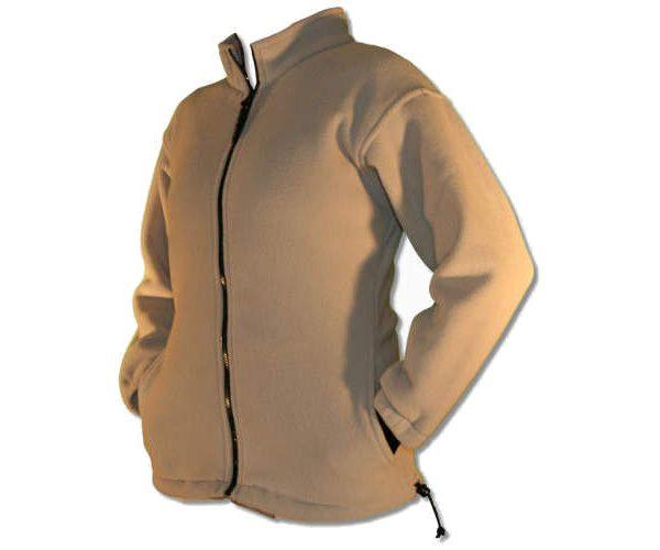 Beige ladies fitted full front polar fleece jacket