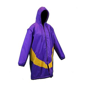 A purple swim parka with yellow accent angled around the waist