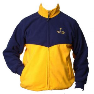 Blue and yellow two tone fleece jacket with full front zipper and logo on the upper left chest