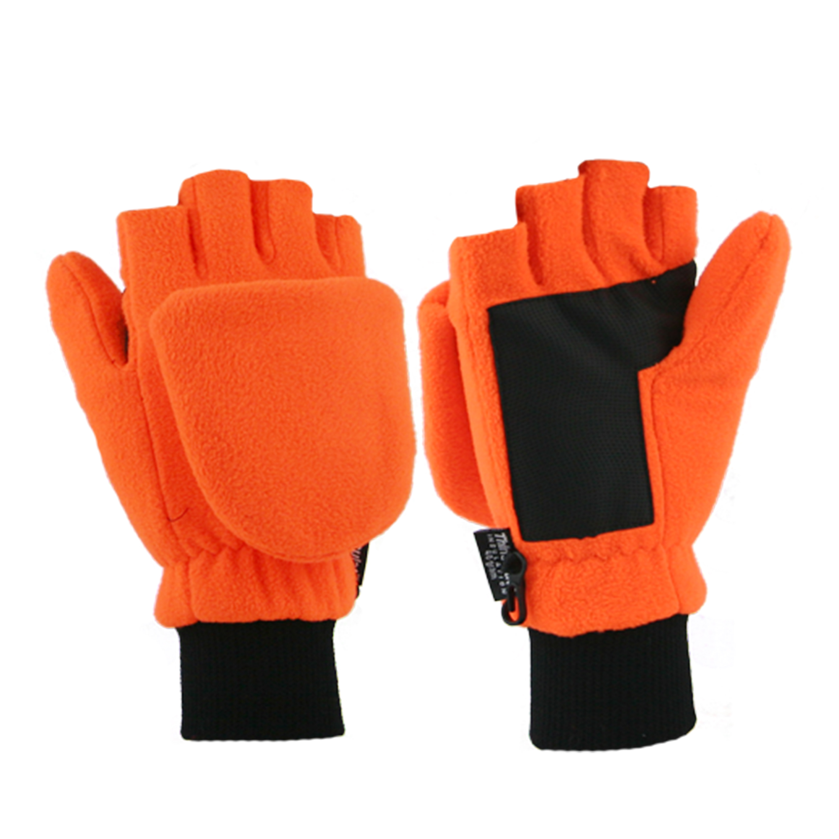 Thinsulate Convertible Mittens 89095 Blaze Orange (also available in Blk,Grey and Navy asst 89094- must order in increments of 12)  Available in a full glove too