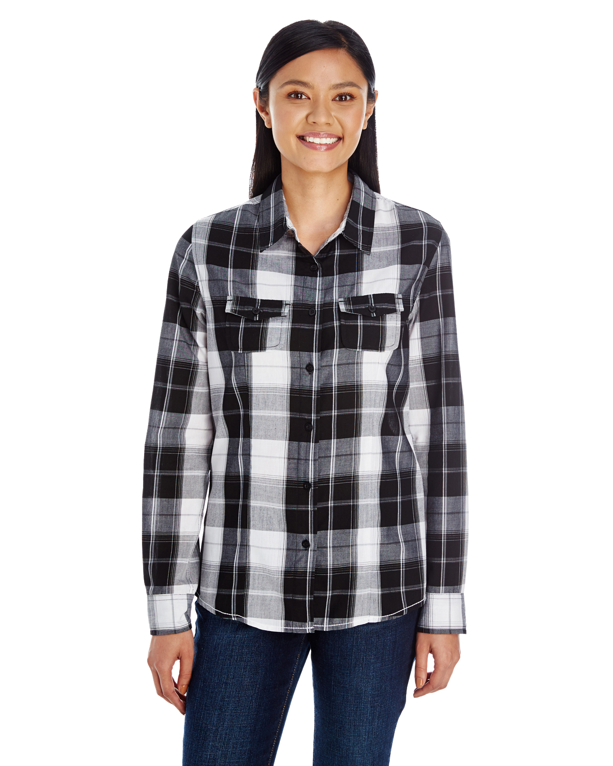 B5222 - Burnside Ladies' Long-Sleeve Plaid Pattern Woven Shirt (5 color)