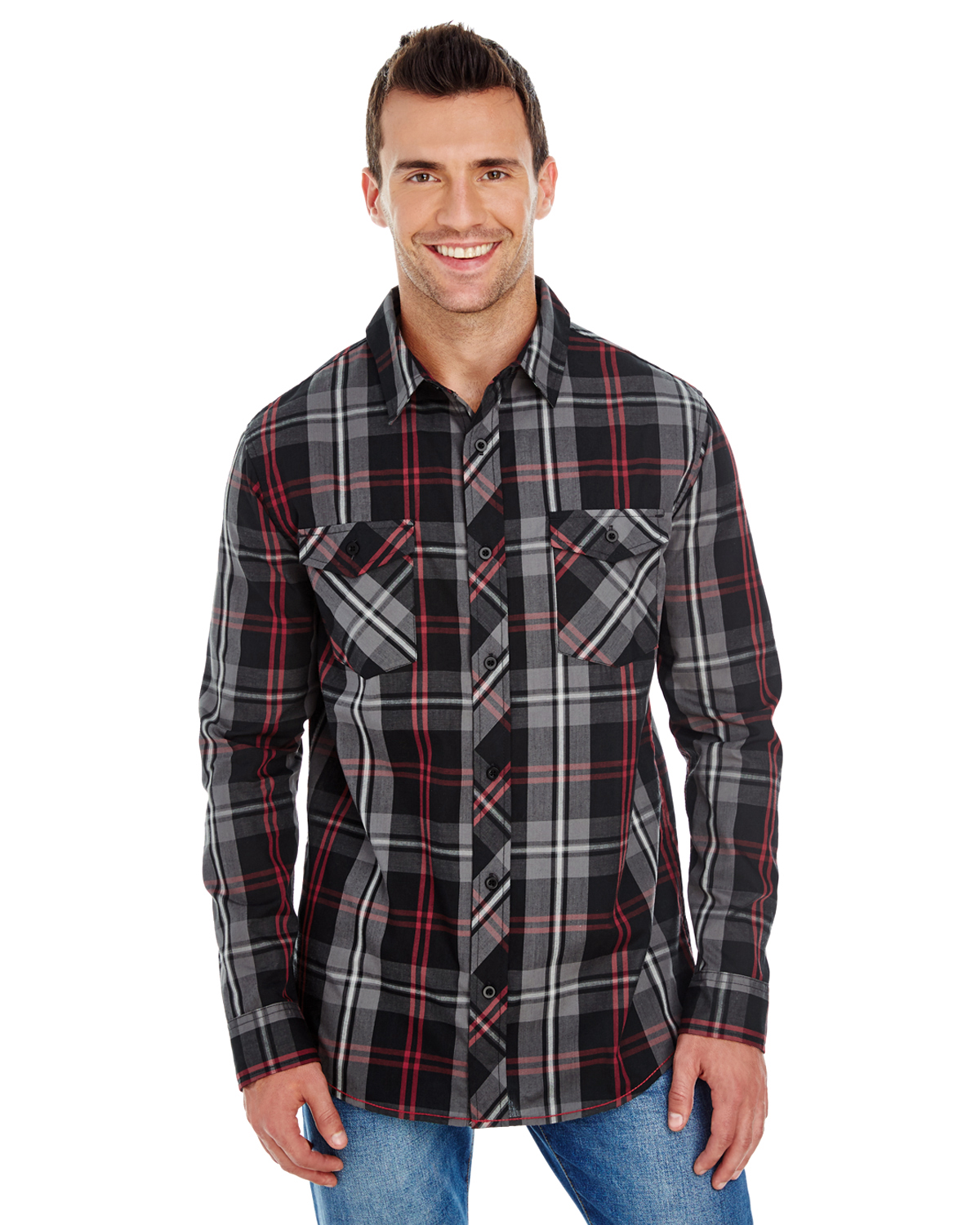 B8202 - Burnside Men's Long-Sleeve Plaid Pattern Woven Shirt (5 colors)